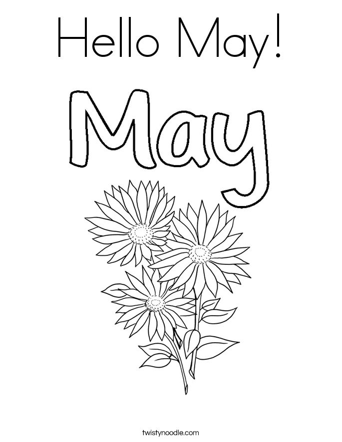 Hello May Coloring Page Twisty Noodle