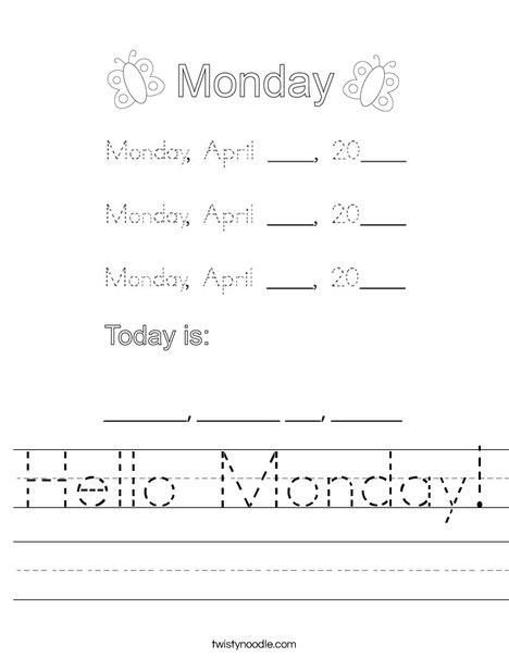 Hello Monday! Worksheet