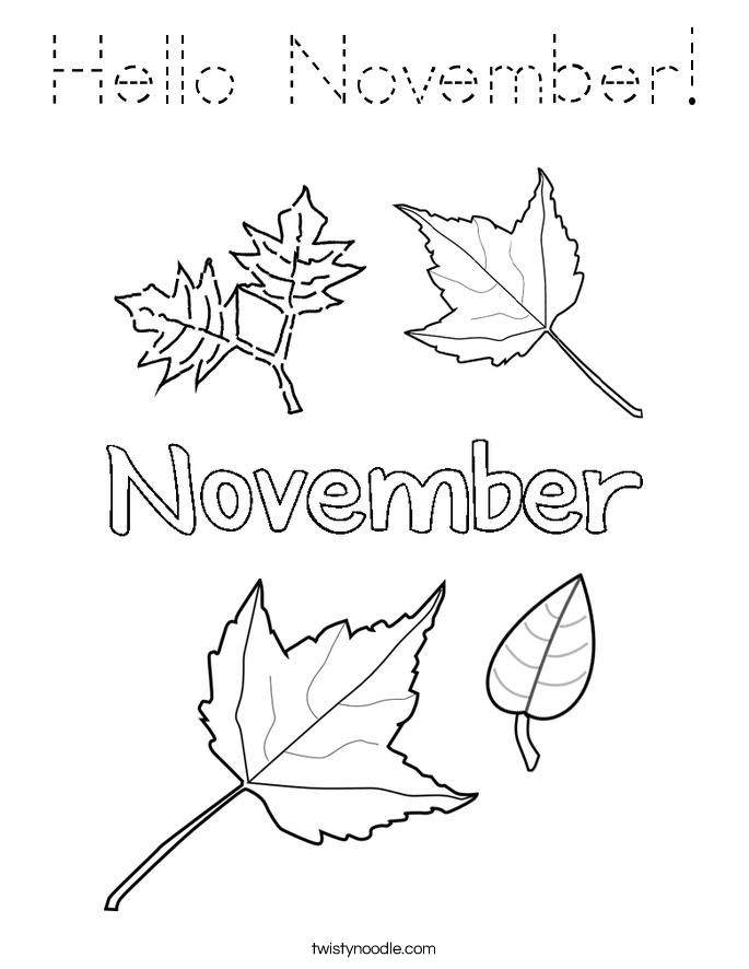 Hello November! Coloring Page