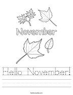 Hello November Handwriting Sheet