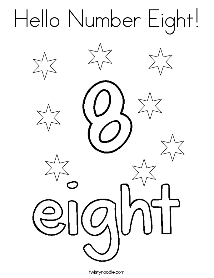 Hello Number Eight! Coloring Page
