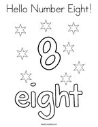 Hello Number Eight Coloring Page