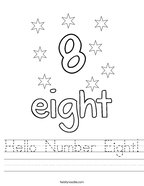 Hello Number Eight Handwriting Sheet