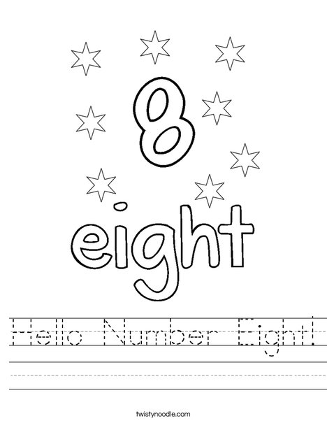 Hello Number Eight! Worksheet