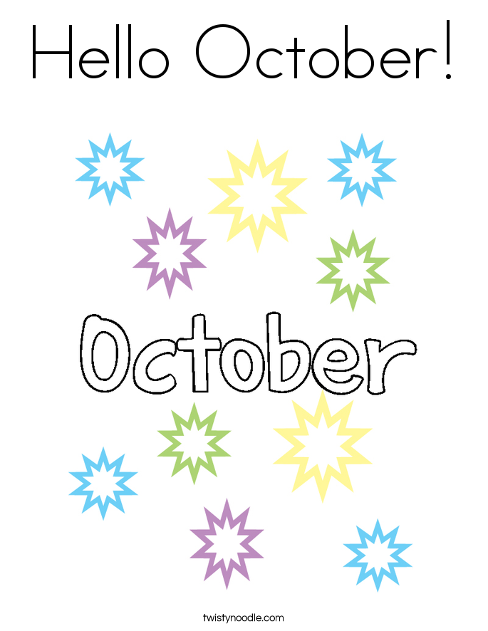 Hello October! Coloring Page