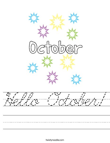 Hello October Worksheet