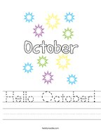 Hello October Handwriting Sheet