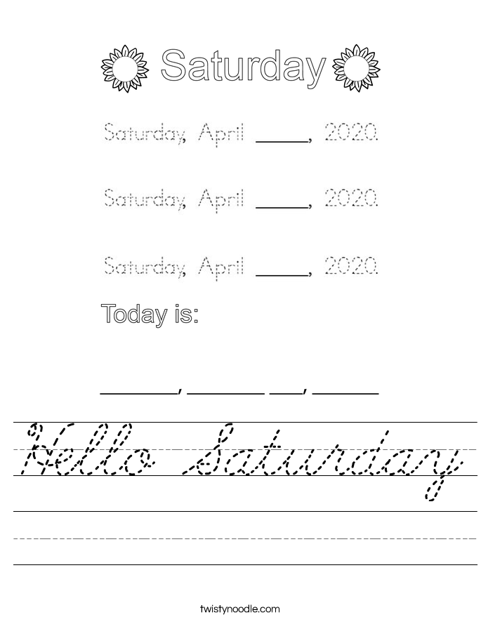 Hello Saturday Worksheet