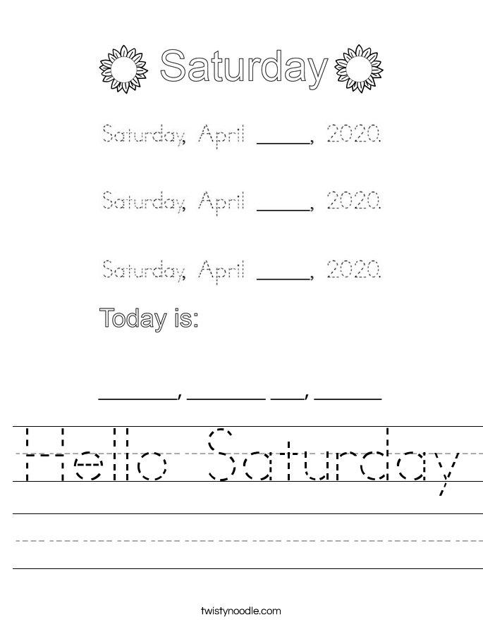 Hello Saturday Worksheet