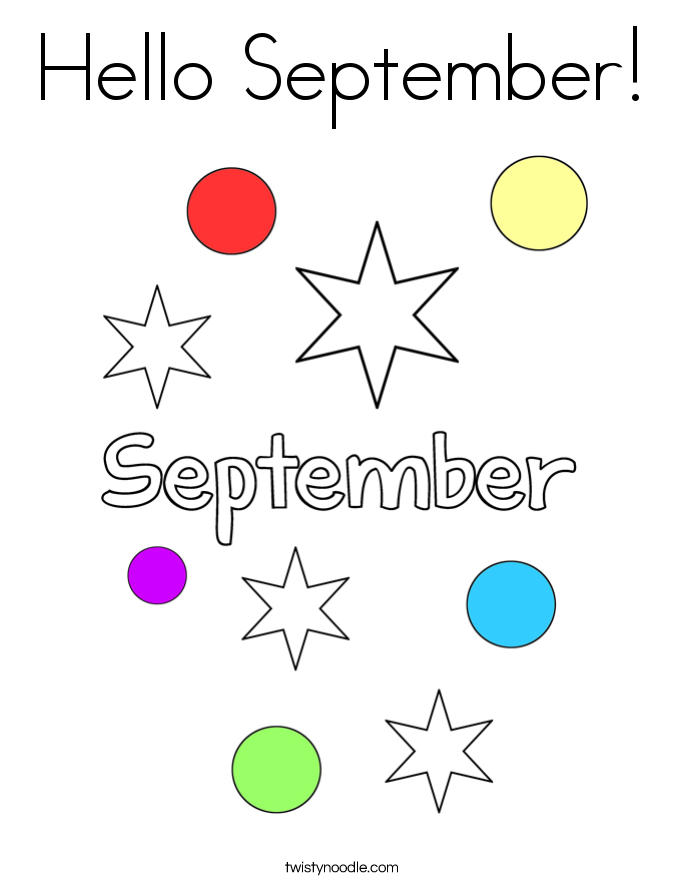 Hello September! Coloring Page