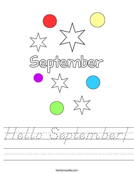 Hello September Worksheet