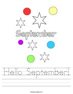Hello September Handwriting Sheet