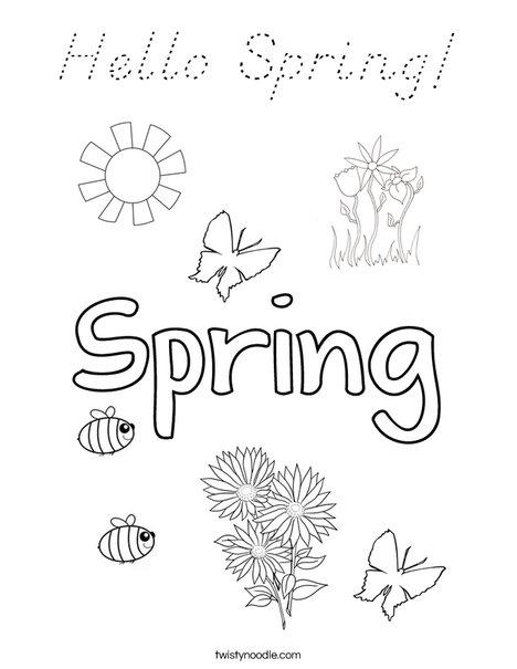 Hello Spring! Coloring Page
