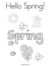 Hello Spring! Coloring Page