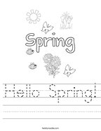 Hello Spring Handwriting Sheet
