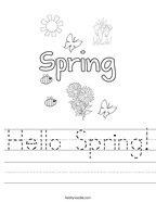 Hello Spring Handwriting Sheet