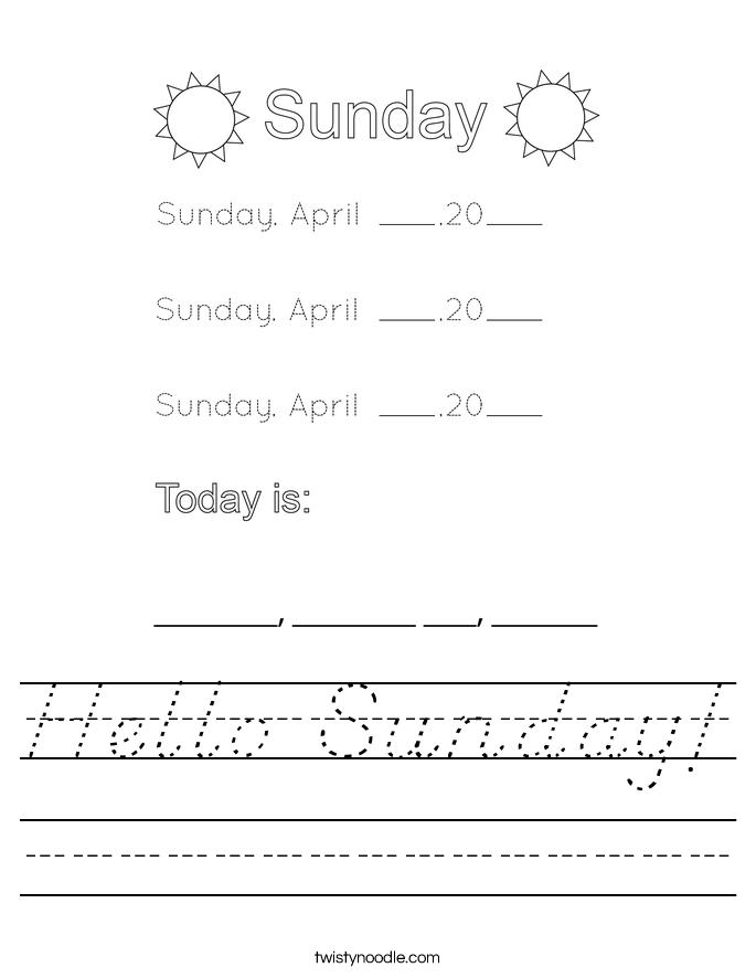 Hello Sunday! Worksheet