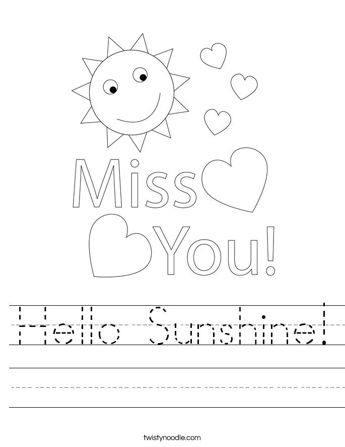 Hello Sunshine! Worksheet