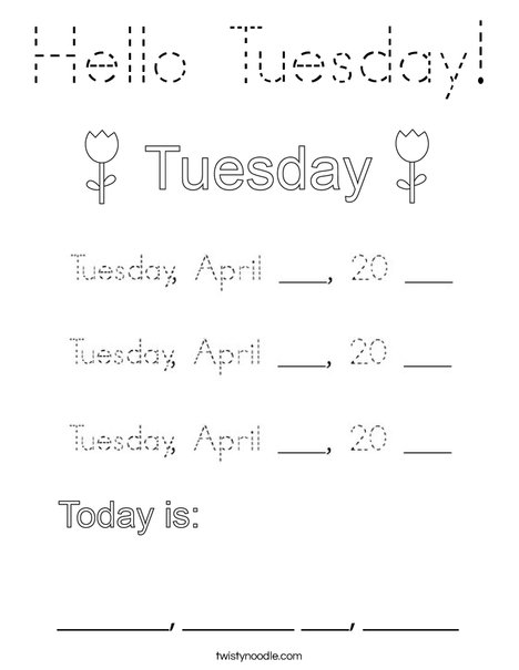 Hello Tuesday! Coloring Page