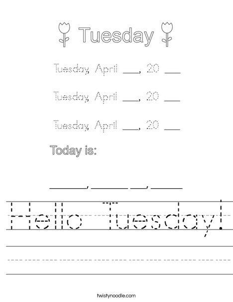Hello Tuesday! Worksheet