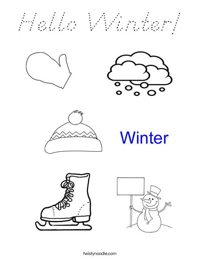 Hello Winter! Coloring Page