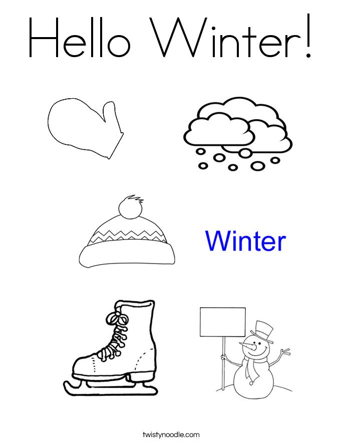 Hello Winter Coloring Page