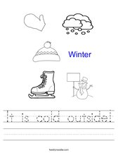 It is cold outside! Worksheet