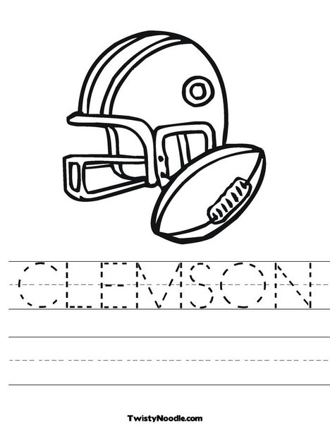 clemson football coloring pages | Clemson Tigers Football Helmet - Free Coloring Pages