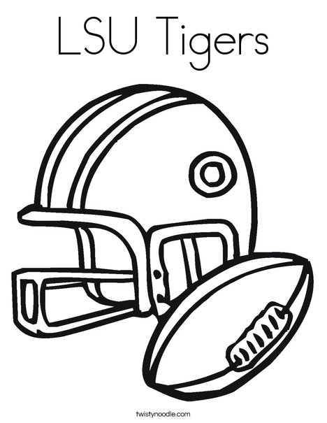 Tiger Football Coloring Pages. Football Helmet and Ball Coloring Page LSU Tigers  Twisty Noodle