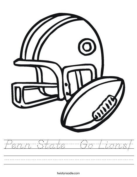 Football Helmet and Ball Worksheet