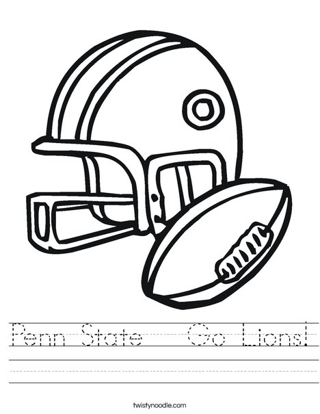 Football Helmet and Ball Worksheet