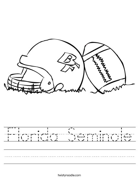 Helmet and Football Worksheet