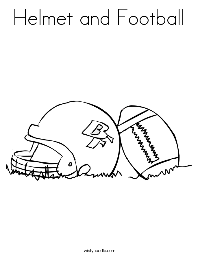 helmet and football coloring page - Football Coloring Page