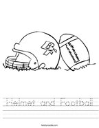 Helmet and Football Handwriting Sheet