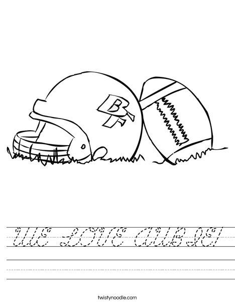 Helmet and Football Worksheet