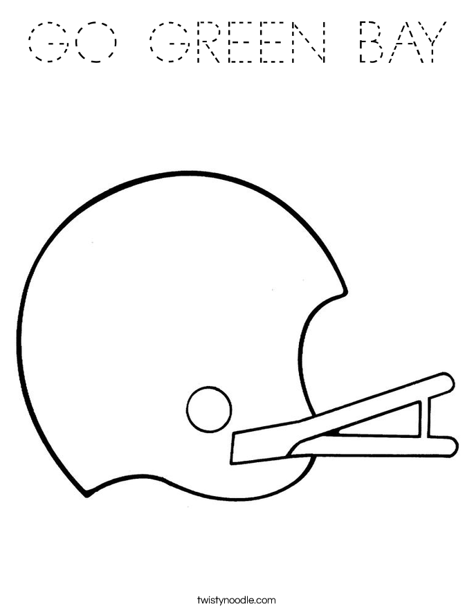 down the bay coloring pages | GO GREEN BAY Coloring Page - Tracing - Twisty Noodle