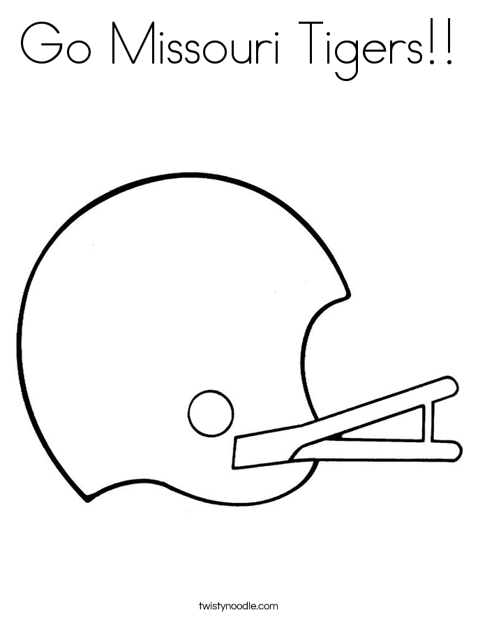 Tiger Football Coloring Pages. Go Missouri Tigers  Coloring Page Twisty Noodle