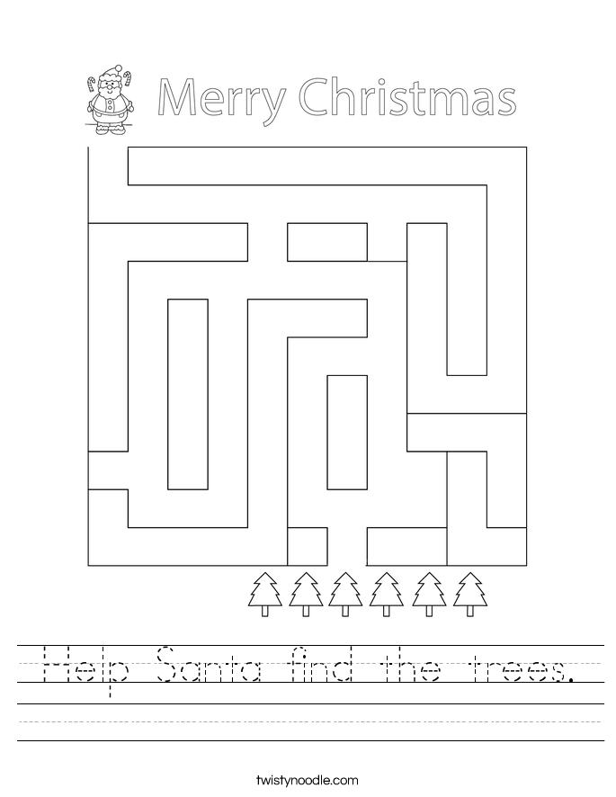 Help Santa find the trees. Worksheet