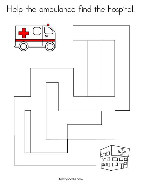Help the ambulance find the hospital.  Coloring Page