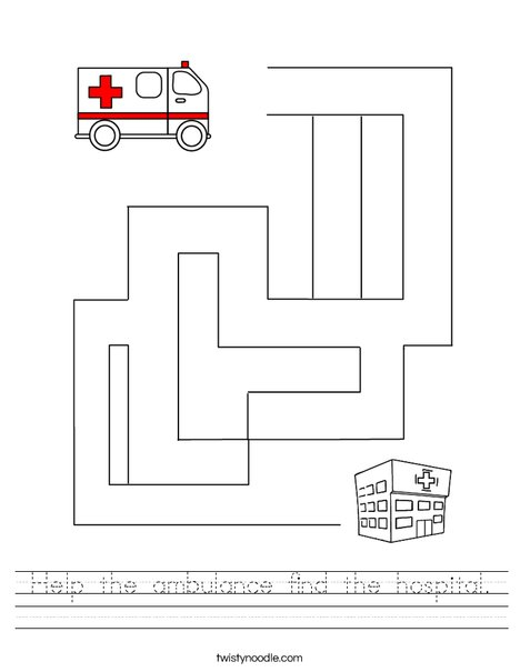 Help the ambulance find the hospital.  Worksheet