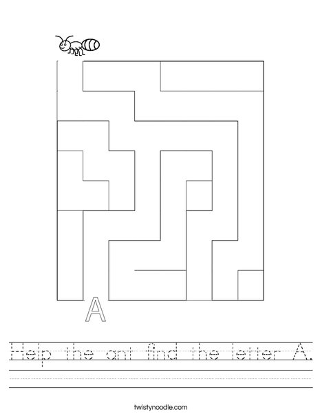 Help the ant find the letter A. Worksheet