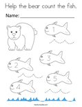 Help the bear count the fish. Coloring Page
