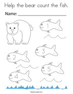 Help the bear count the fish Coloring Page