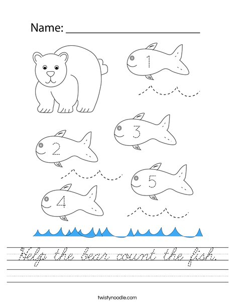 Help the bear count the fish. Worksheet
