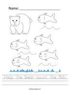 Help the bear count the fish Handwriting Sheet