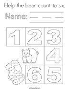 Help the bear count to six Coloring Page