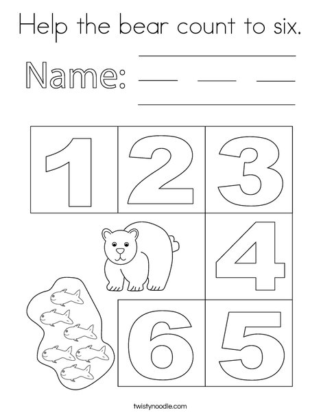 Help the bear count to six. Coloring Page