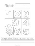 Help the bear count to six Handwriting Sheet