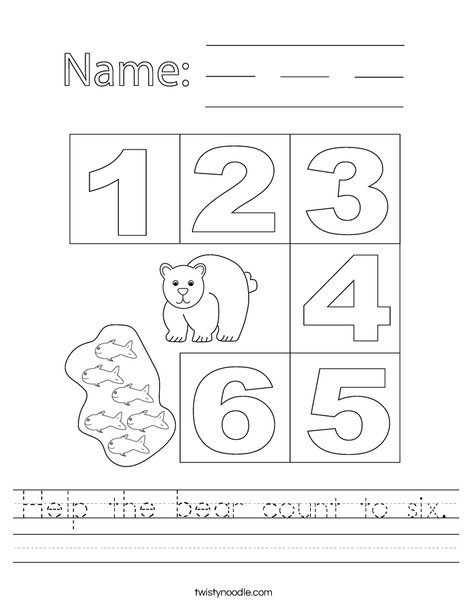Help the bear count to six. Worksheet