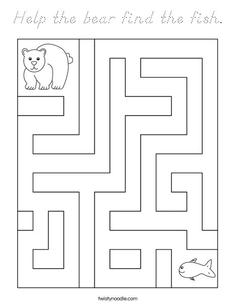 Help the bear find the fish. Coloring Page